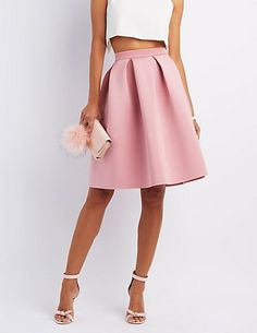 Full Pleated Scuba Skirt | Charlotte Russe