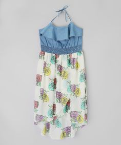 Look at this Dollhouse Blue Flower Chambray Hi-Low Dress - Toddler & Girls on #zulily today!