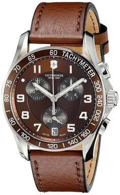 Victorinox Swiss Army 241498 Chrono Classic Watch with Brown Dial and Brown Leather Strap Amazing Watches, Cool Watches, Seiko Skx, Mens Watches Online, Army Watches, Wrist Watches, Victorinox Swiss Army, Victorinox Knives, Timex Watches