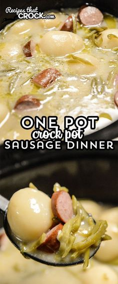 One Pot Crock Pot Sausage Dinner makes supper a snap! This easy recipe is dinner in a bowl. The savory sauce is so good you can even serve it as a soup if you'd like!