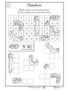 Here's a page showing the top half of a hundred board. Many of the numbers have been covered by snakes! Students must determine and write the hidden numbers.