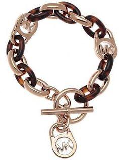 Bracelet that matches every outfit! --> New-Michael-Kors-Rose-Gold-Tortoise-Chain-Logo-Padlock-Toggle-Bracelet-MKJ4059 #Bracelet #Fashion #Tortoise #Accessories #MK #MichaelKors #Chain $73.77