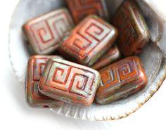 Picasso Rectangle Aged Czech Beads, Greek Key, Orange Brown (8) - MayaHoneyBead