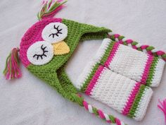 Sleepy Owl Hat with Earflaps & Leg Warmers - Toddler, Child - Hot Pink, Green - Animal, Hoot, Nighttime, Woodland on Etsy, $50.00