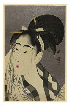 JAPANESE FINE ART PRINT Ase o Fuku onna Japan 24X36 Woman's Profile RARE!