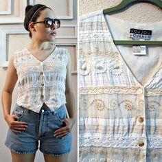 Vtg 90s Embroidered vest with lace by FrankieMariebyRehcy on Etsy, $22.99 #boho #bohofashion #vintage #vintagefashion #90s #90sFashion #shabbychic