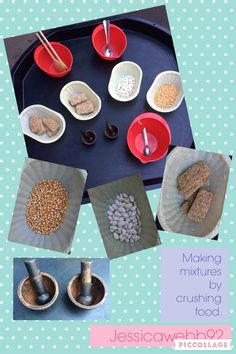 Making mixtures by crushing weetabix, pasta, beans etc with pestle and mortars. EYFS