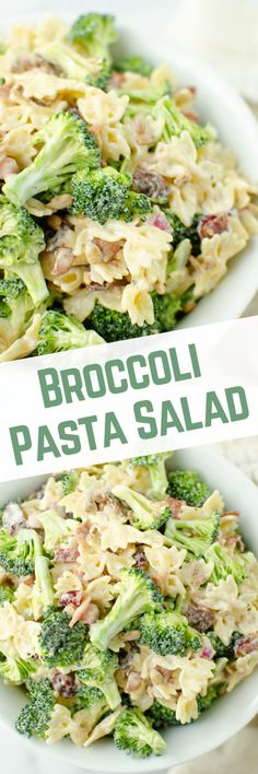 Broccoli Pasta Salad is the perfect summer side dish! Pasta tossed with fresh broccoli, red onion, crispy bacon, dried cranberries, and sunflower seeds in a sweet and tangy dressing. Great Salad Recipes, Yummy Pasta Recipes, Healthy Salad Recipes, Side Dish Recipes, Real Food Recipes, Broccoli Pasta Salads, Fresh Broccoli, Summer Side Dishes, Best Side Dishes