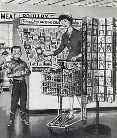 Shopping for greeting cards, 1960...note: the drawing on the card looks like the boy haha