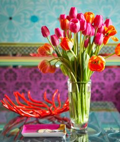 love the orange and pink tulips