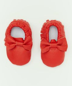 Look what I found on #zulily! Red Leather Moccasin by Just Couture #zulilyfinds