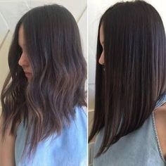 Medium Hair Cuts, Medium Hair Styles, Curly Hair Styles, Long Bob Styles, Long Hair V Cut, Wavy Hair, Long Angled Hair, Hair Bob Long, Angled Lob