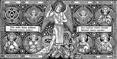 The nine types of angels mentioned in Sacred Scripture into a hierarchy: seraphims, cherubims, thrones, dominions, power, authorities, principalities, archangels and angels.