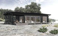 Modern scandinavian wooden house in seaside.a dream! Prefab Homes, Log Homes, Cottage Design, House Design, Scandinavian Architecture, Outside Living, Wooden House, Little Houses, House In The Woods