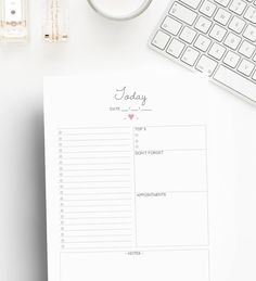 Daily planner, Printable planner inserts, Day on one page, Planner printable, A5, Personal, Pocket planner inserts, Filofax inserts, To do