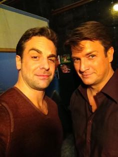 One Life to Live's Joey Buchanan (Chris McKenna) and One Life to Live's Joey Buchanan (Nathan Fillion) on the set of Castle.