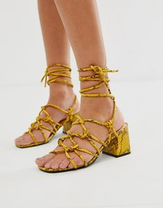 Buy Public Desire Freya bright yellow snake tie up sandals at ASOS. With free delivery and return options (Ts&Cs apply), online shopping has never been so easy. Get the latest trends with ASOS now. Tie Heels, Tie Up Sandals, Leather Sandals Flat, Strappy Sandals Heels, Women Sandals, Shoes Women, Yellow Snake, Bright Yellow, New Look Heels