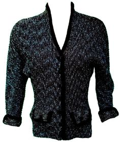 1940s Small Cardigan Sweater Knit Ribbed Black Mint Green Retro Pin Up WWII Rockabilly Rosie the Riveter Preppy Cute Winter Rockabilly Mod