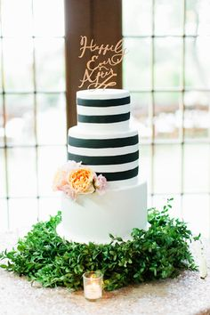 black and white striped cake | Love, The Nelsons #wedding