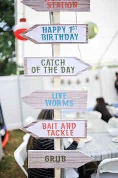 Directional Sign from a Gone Fishing Birthday Party via Kara's Party Ideas | KarasPartyIdeas.com (48)