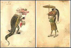 Alligator and Zebra Mistick Krewe of Comus 1873 'Missing Links' Parade Costume Designs New Orleans, Louisiana