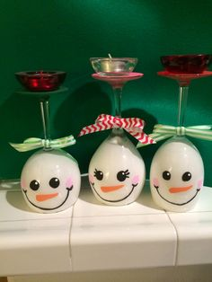 Snowman wine glass candle holders- finished product :)