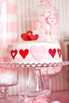 Red and pink cake at a Valentine's Day party! See more party planning ideas at CatchMyParty.com!
