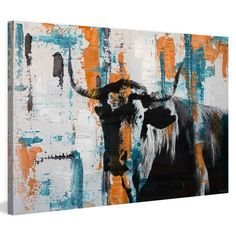 Parvez Taj Orange Teal Steer Painted Canvas Wall Art - PT-BAROMM-271-C-24