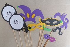 Photo Booth Props-Mardi Gras Photo Booth Props-Wedding Photo Booth Props. $20.00, via Etsy.