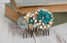 re-purposed vintage jewelry hair comb