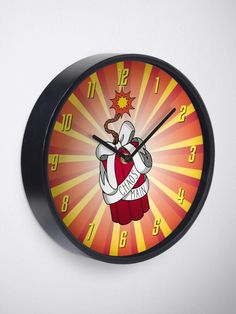You're a chaos main, causing explosive mayhem. This dynamite design is great for gamer's bedrooms, with its bright colors and lit fuse. White Clocks, Quartz Clock Mechanism, Light Art, Game Art, Bright Colors, Red And White, Bedrooms, Bows, Art Prints