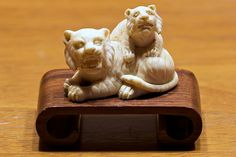 Carved Ivory Netsuke of Two Tigers