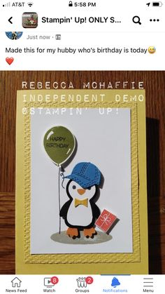 Hubby Birthday, Homemade Birthday Cards, Adolescents, Creative Cards, Kids Cards, Summer Sale, Scrapbook Cards, Stampin Up Cards, Snowman