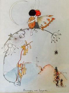 The Butterfly and the Ladybird.  An early picture by Margaret Clark owned by a Sydney lady.