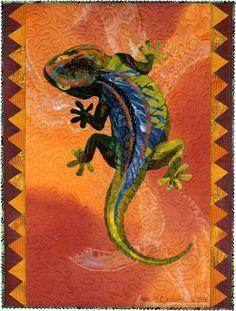 Gobi Gecko art quilt by Susan Carlson