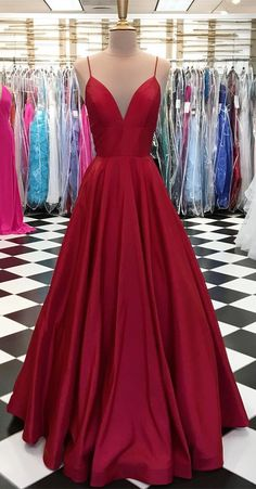 simple straps red long prom dress. 2018 prom dress, party dress, evening dress