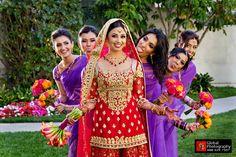 Indian-wedding-bridesmaids-purple-sari-red-bridal-lengha