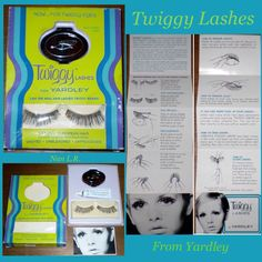 Vintage Twiggy Lashes in original box. Included are the BLACK lashes, adhesive, mini-carry case and folding instruction sheet. It appears that the original price sticker was for $0.49! Sold for $99.99 in 2016.