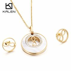 Kalen New Shell Jewelry Set Stainless Steel Puerto Rico Gold Plate Lucky Hollow Number 8 Pendant Necklace Earrings Set For Women
