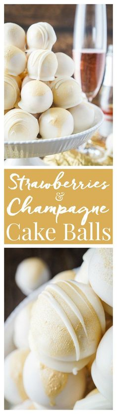 These Strawberries & Champagne Cake Balls are perfect for a New Year's Eve party, Valentine's Day, Bridal Showers and so much more! They make an easy dessert that tastes like fruity pebbles! Desserts For Bridal Shower, Bridal Shower Recipes, Bridal Shower Treats, Bridal Shower Drinks, Bridal Showers, New Years Eve Party Ideas For Adults, New Years Party, Christmas Eve Box For Adults, New Years Eve Deserts
