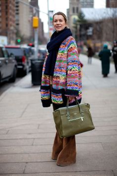 Natalie Joos Rainbow Coat and Green Bag - New York Fashion Week Street Style - Harper's BAZAAR