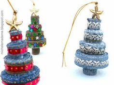 denim tree ornaments.  Could be made with felt.  Can look like a tree or a tiered cake, depending on the decorations you choose.