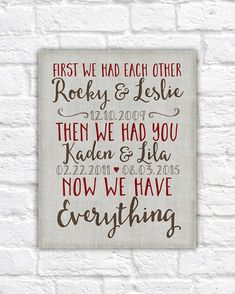 Important Dates, First We Had Each Other Wall Sign, Canvas Art, 10 Year Anniversary, Neutral, Red, Brown, Custom Art Childrens Birthdays