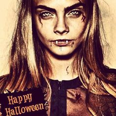 halloween make up artistes stars celebrates people look maquillage deguisement costume montage fake manip fan art cara delevingne