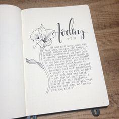 Bullet journal daily journal, flower drawing.   @heartistic.jess