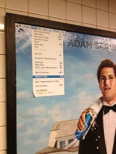Is This The Best Subway Poster Edit Ever?  Move to Trash for Adam Sandler's entire output. Anyone who wants a fee from a dying boy for an autograph ...