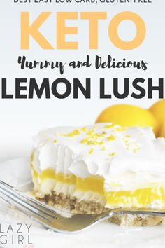 This Low Carb Lemon Lush is the ultimate keto lemon dessert. This low carb Keto Lemon Lush is a light and fresh dessert that has a lemony filling between two creamy layers and a crunchy crust.This is the ultimate keto lemon dessert. It's seriously good! Lemon Lush Recipe, Lemon Lush Dessert, Desserts Keto, Dessert Recipes, Recipes Dinner, Holiday Desserts, Plated Desserts, Atkins Desserts, Cookie Recipes