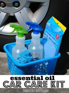 Essential Oil Car Care Kit and recipes for 3 DIY all natural cleaners! Great gift idea for guys!