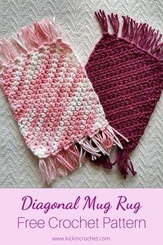 Crochet Potholder Patterns, Crotchet Patterns, Mug Rug Patterns, Crochet Dishcloths, Crochet Coaster Pattern Free, Free Pattern, Quilt Patterns, Crochet Mug Cozy, Crochet Gifts