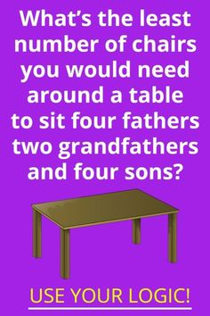 What's the least number of chairs you would need around a table to sit four fathers, two grandfathers and four sons? Fun Riddles With Answers, Tricky Riddles, Riddle Of The Day, Best Riddle, Brain Teasers, A Table, Puzzle, Fathers, Sons